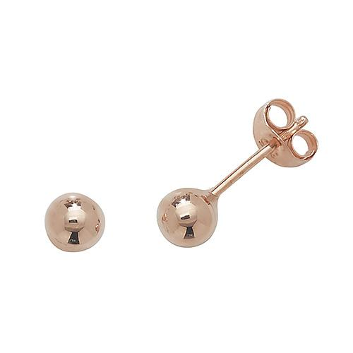 9ct Rose Gold Ball Stud Earrings Jewellery Carathea