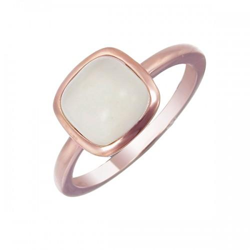 Rose Gold ring with square moonstone ring