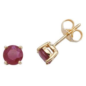 9ct Gold Ruby Stud Earrings Jewellery Treasure House Limited