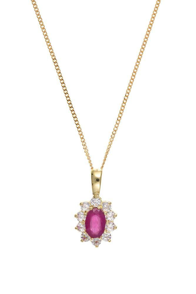 9ct Ruby and Cubic Zirconia Pendant