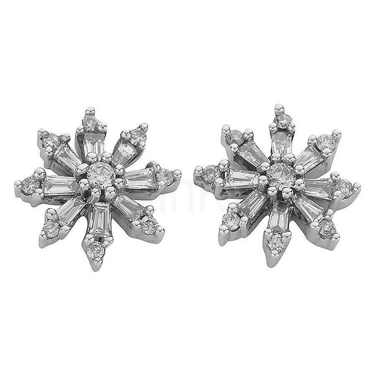 White Gold Diamond Snowflake Earrings