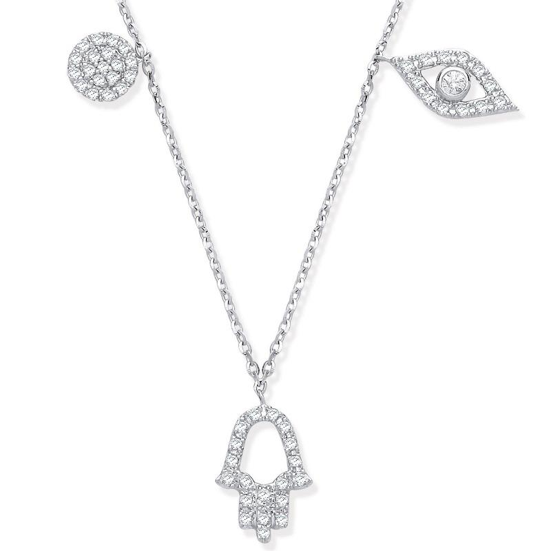 White gold Hamsa Necklace with Evil Eye and Circle set withdiamonds