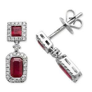 9ct White Gold Ruby and Diamond Drop Earrings