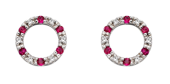 9ct White Gold Ruby and Diamond Open Circle Earrings