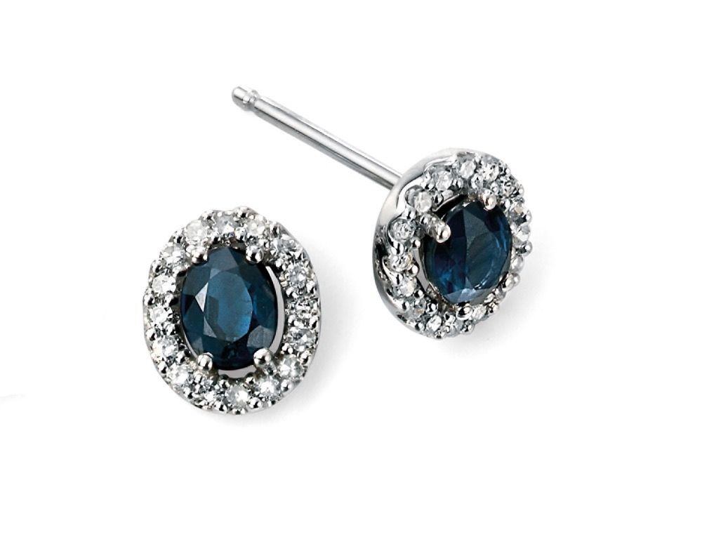 9ct White Gold Sapphire and Diamond Cluster Earrings