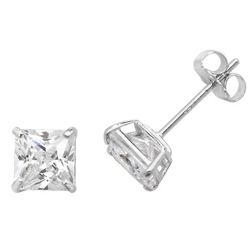 9ct white gold square cubic zirconia stud earrings
