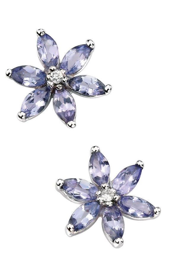 9ct White Gold Tanzanite & Diamond Flower Earrings