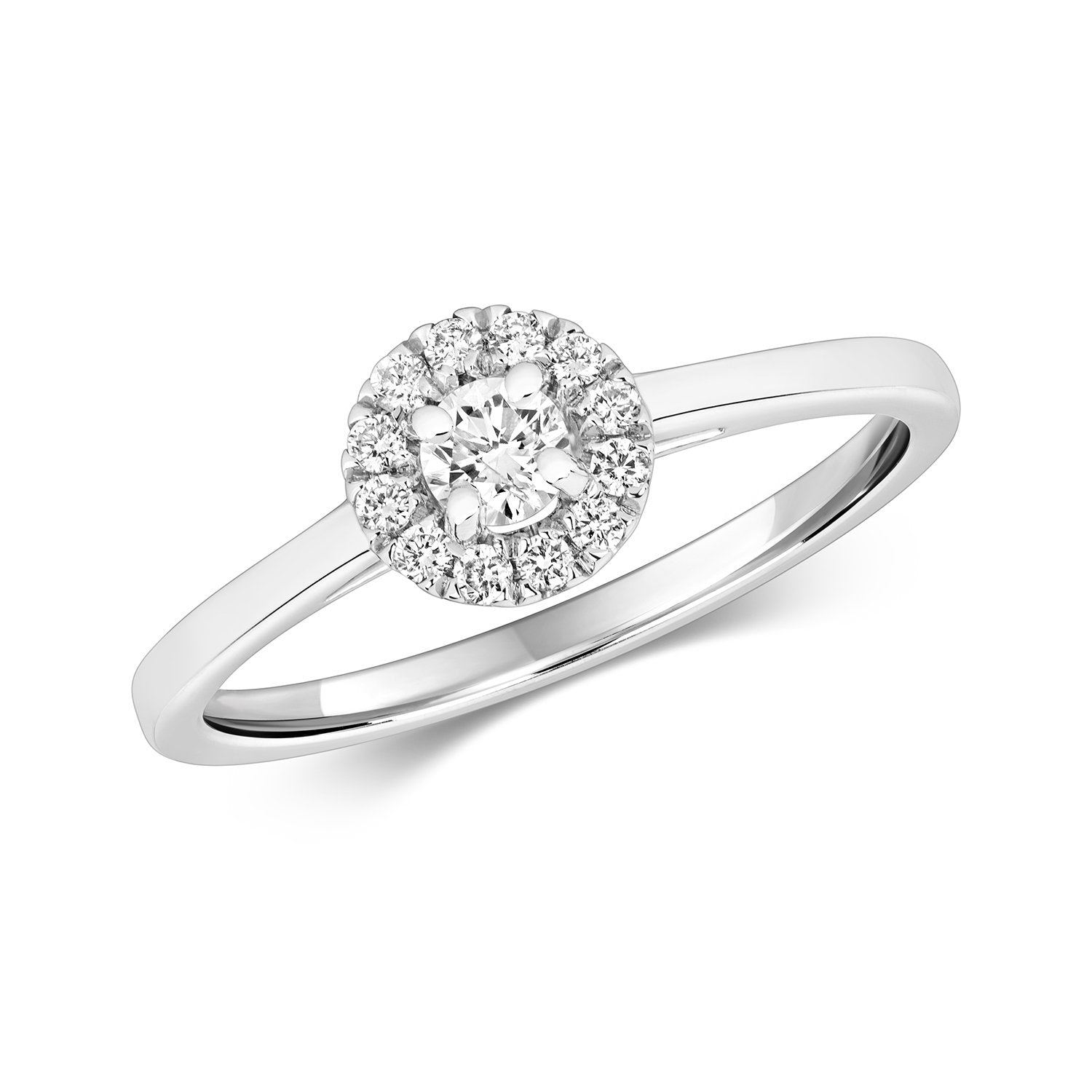 9ct White Gold Diamond Solitaire Halo Ring Jewellery Treasure House Limited L