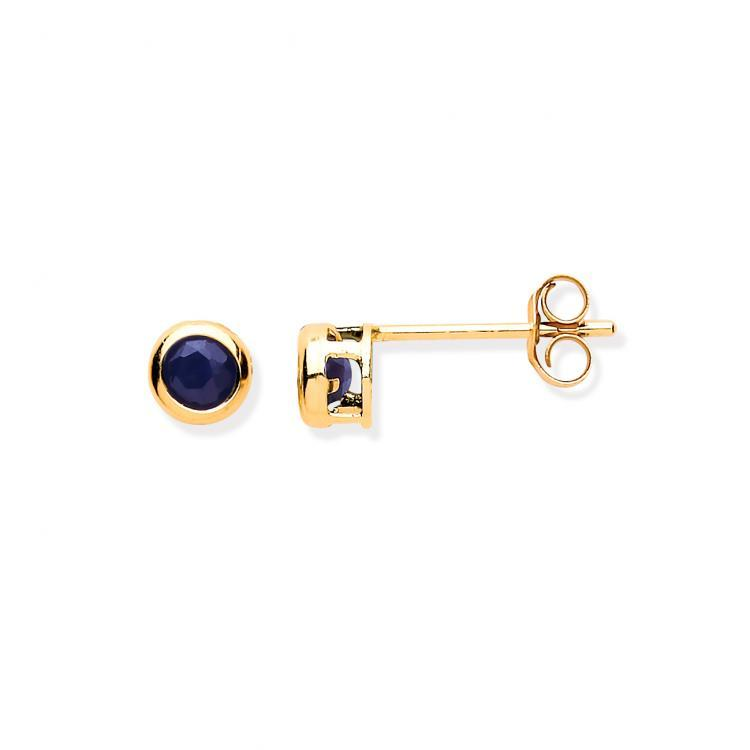 9ct Sapphire Rubover Stud Earrings Jewellery Hanron