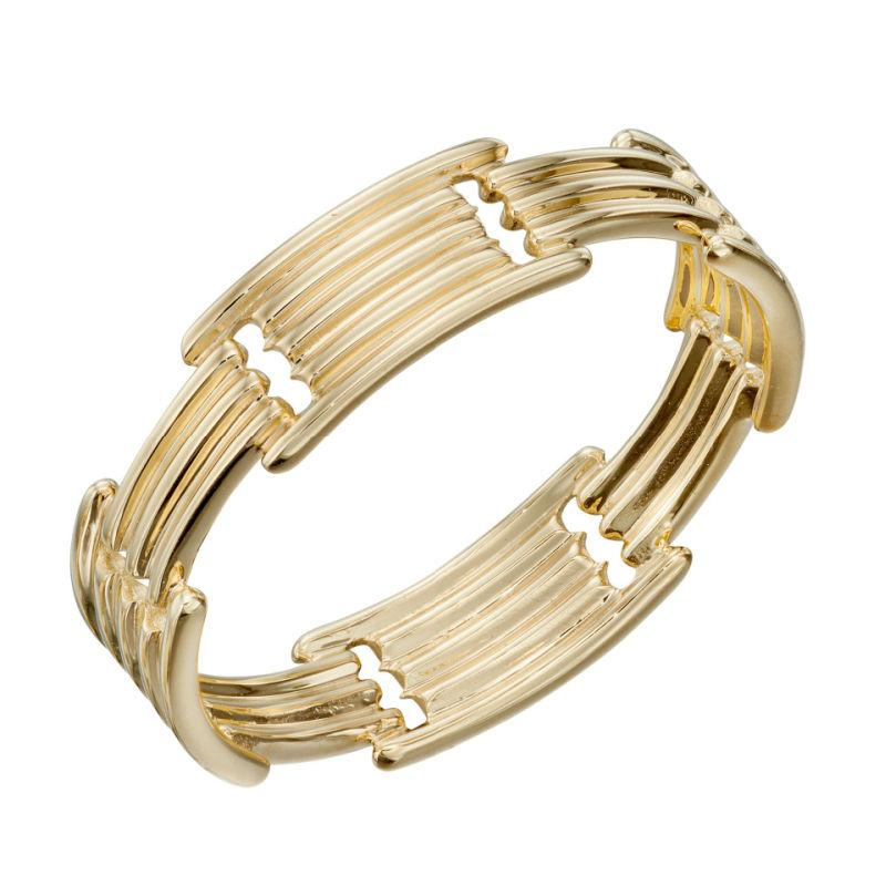 9ct yellow gold long bar  band ring