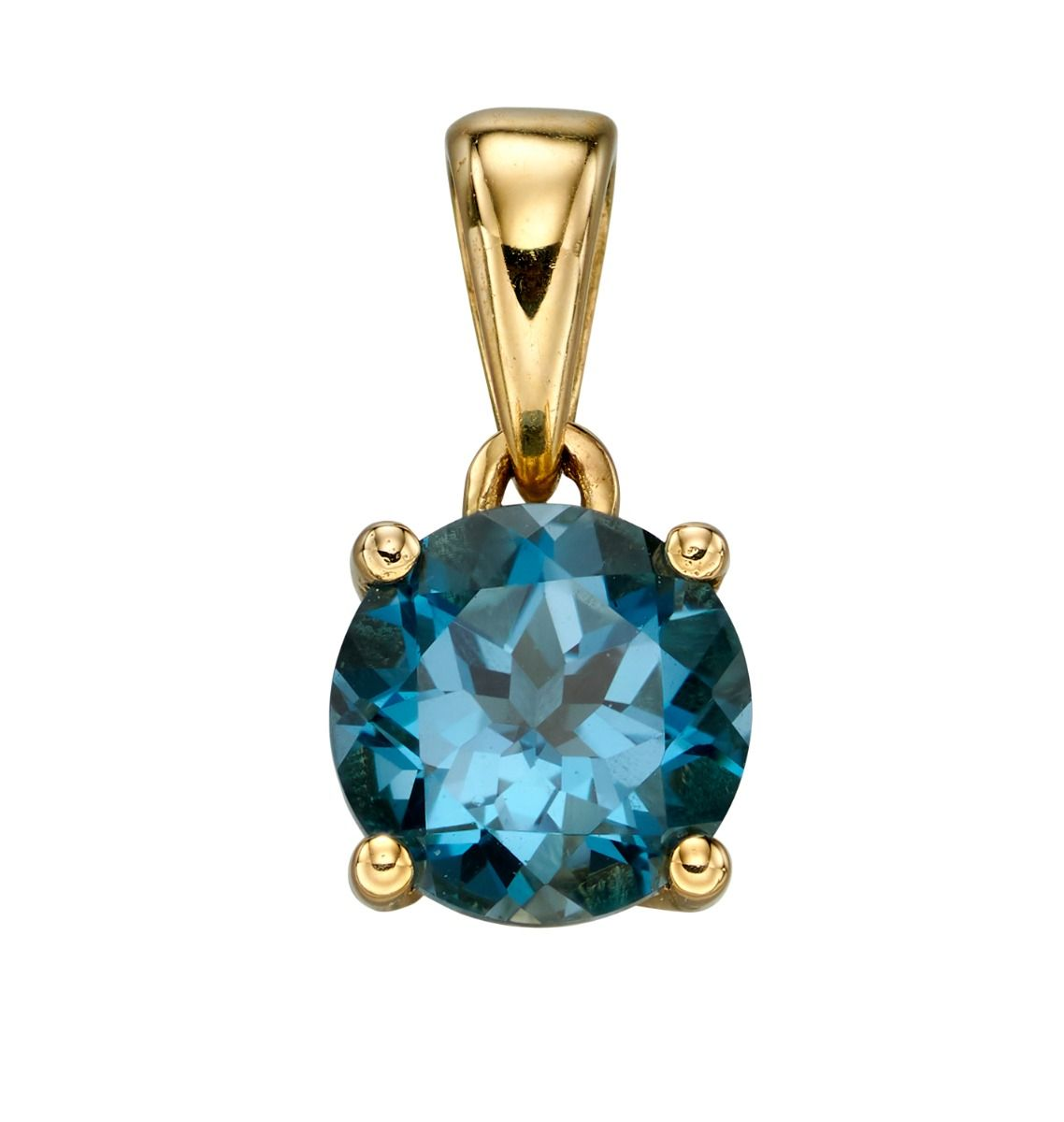 9ct Gold and Blue London Topaz gemstone, the birthstone for December, pendant