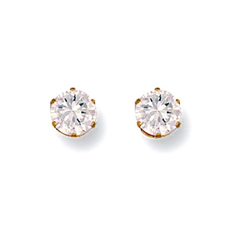 Gold CZ Stud Earrings 5 mm Jewellery Hanron