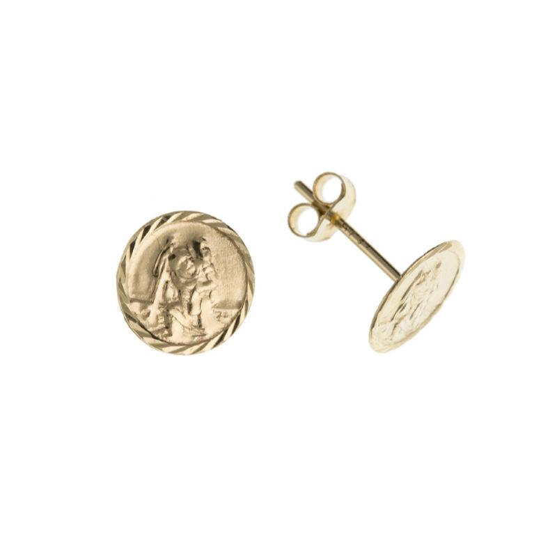 Gold St Christopher Stud Earrings Jewellery Ian Dunford