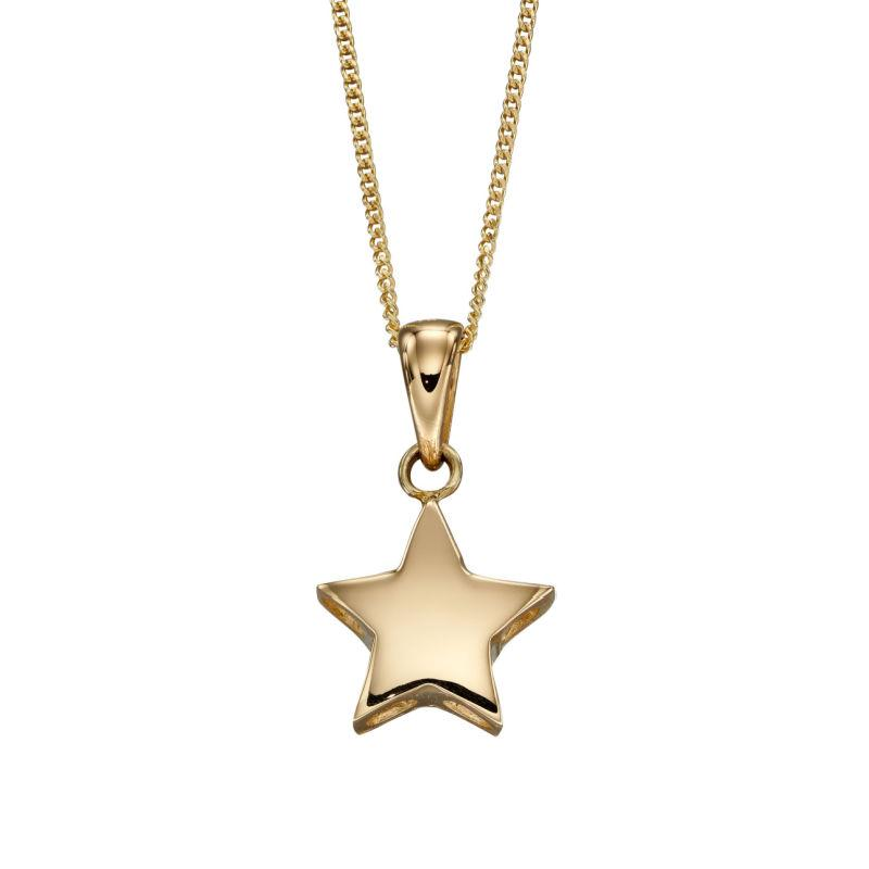 Engravable Gold Star Pendant Necklaces & Pendants Gecko