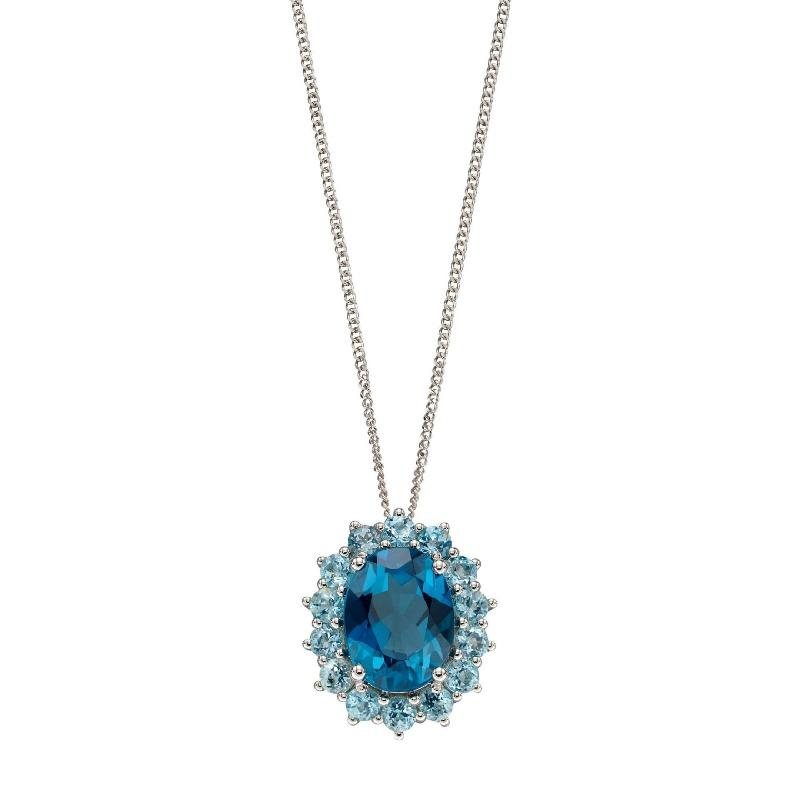 White Gold London Blue Topaz Cluster Pendant Carathea