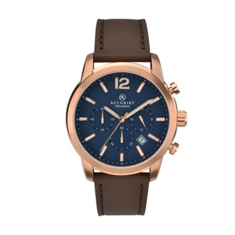Accurist 7021 Men's Rose Gold Watch with Blue Dial Watches Accurist