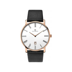 Men's classic watch from Accurist with white dial, black strap and black roman numerals.
