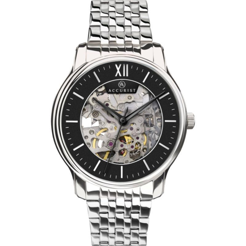 Men's Accurist skeleton automatic watch with steel bracelet and black outer dial