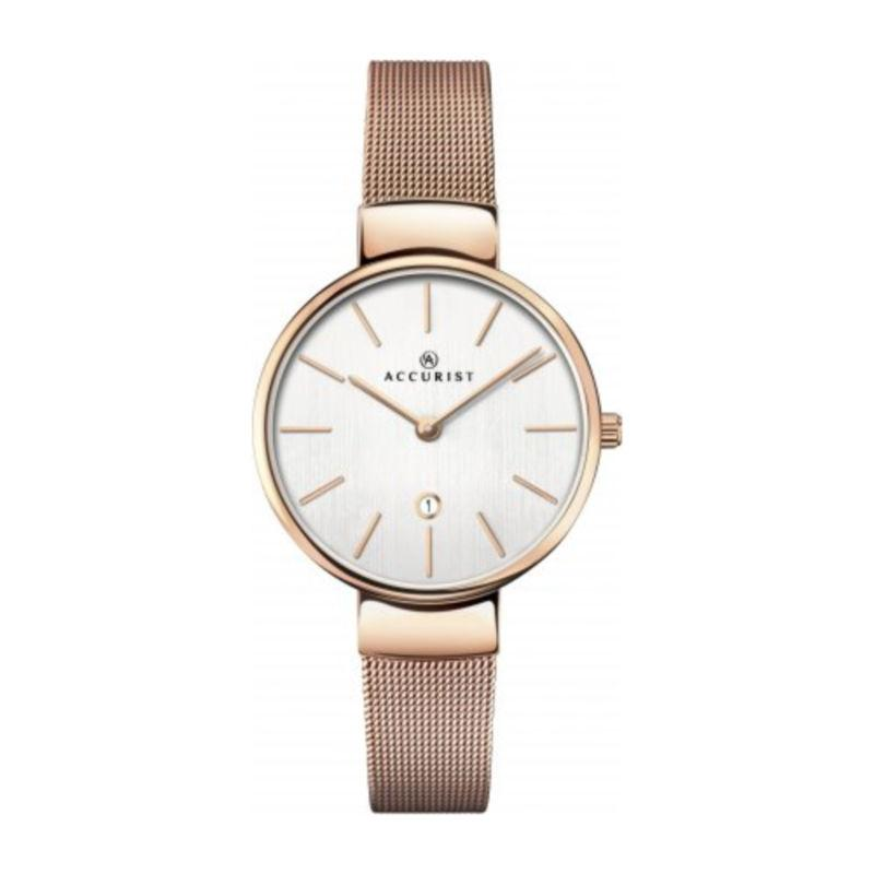 Accurist 8079 Ladies Watch with Rose Gold Mesh Bracelet Watches ACCURIST