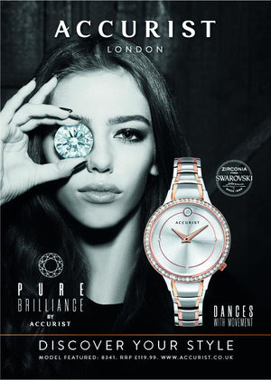 Press advert for Accurist ladies watch with crystal imbedded in the dial