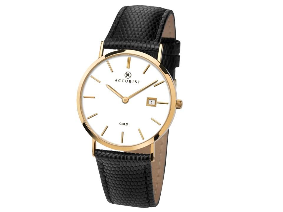 9ct gold Men's Accurist watch with black leather strap and white dial