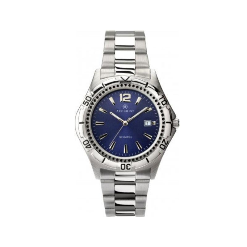 Accurist men's watch with a stainless steel bracelet and a blue dial with a date function