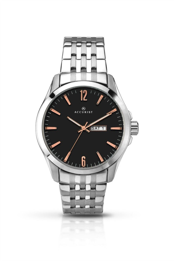 Accurist Mens Steel Watch with Black Dial 7047