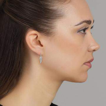 Silver Angel's Wing drop earrings with sparkling cubic zirconias