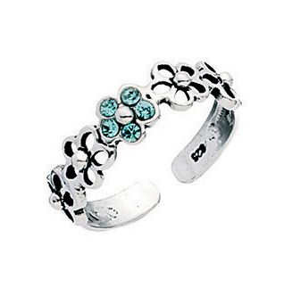silver toe ring with blue crystal flower