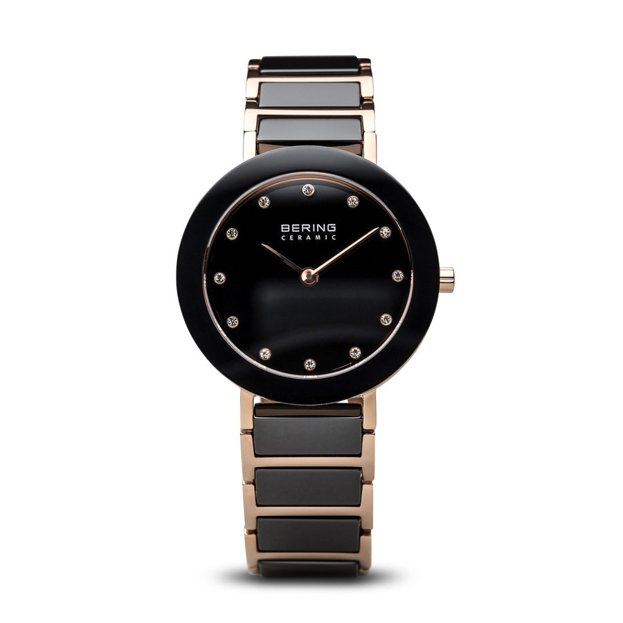 Bering Ceramic Ladies Watch in black and rose gold 11429-746