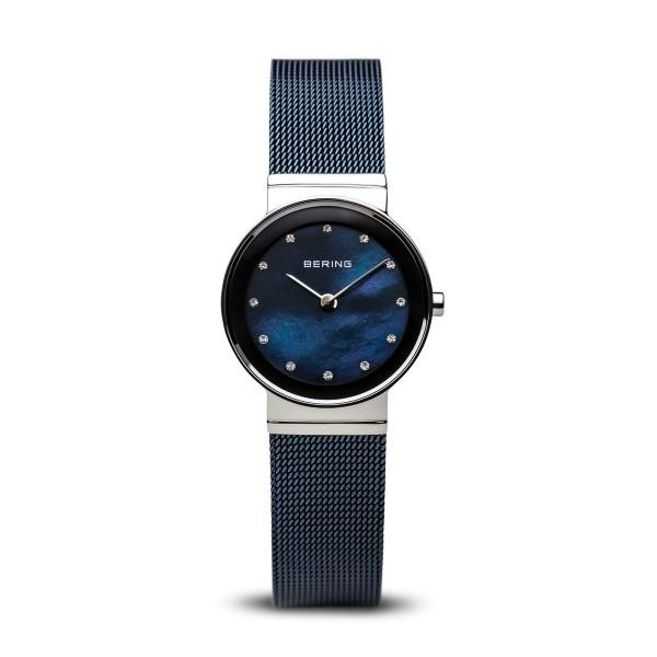 Bering Ladies watch with blue Milanese strap (mesh) and blue mother of pearl dial with Swarovski elements