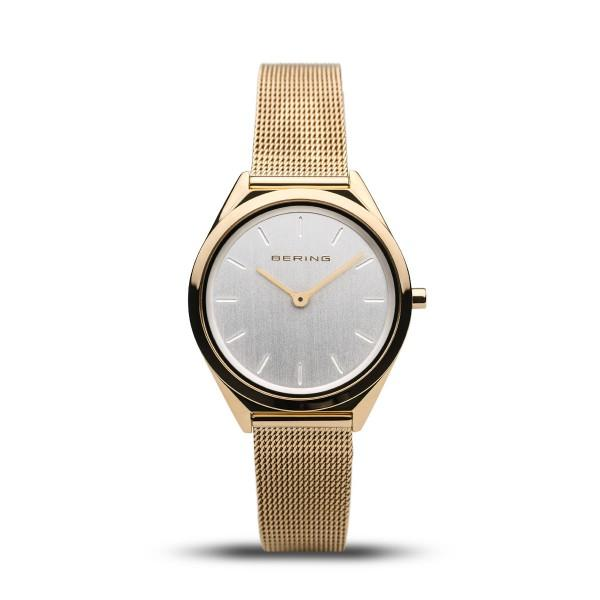 Bering gold watch in ultra-slim retro design with Milanese (mesh) strap