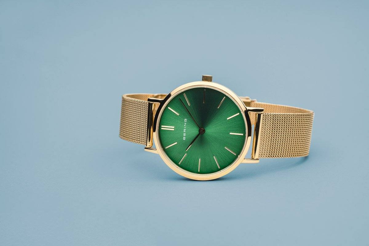 Bering Ladies Watch Gold Green 14134-338 Watches Bering