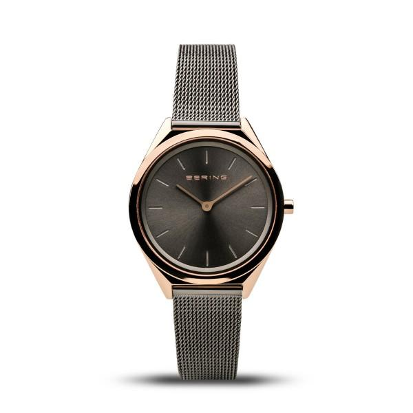 Ladies Ultra-Slim Bering watch in rose gold and grey with Milanese (mesh) strap