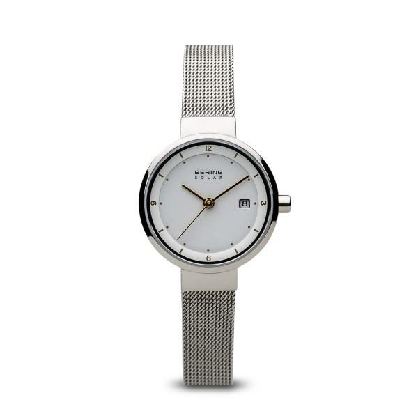 Ladies Bering Solar watch with white dial, date function and milanese mesh strap