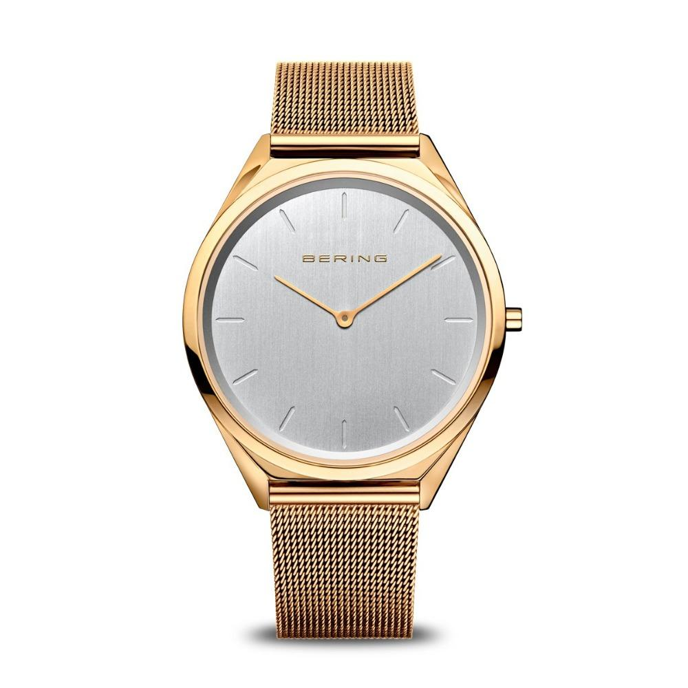 Bering rose gold ladies watch with grey dial and mesh strap