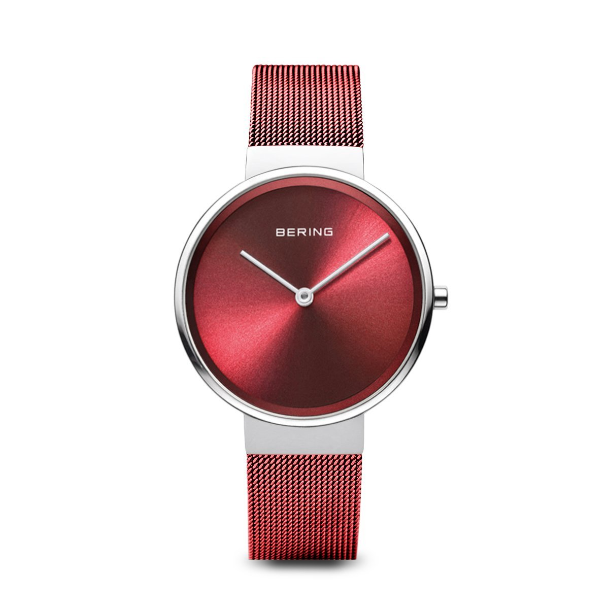 Ladies Bering watch with deep red mesh strap and red minimalist dial