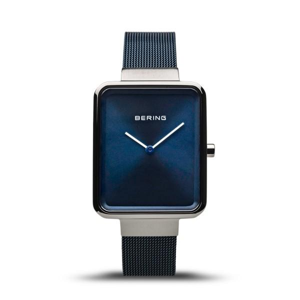 Men's Bering Watch with blue dial, blue Milanese (mesh) strap and grey silver case