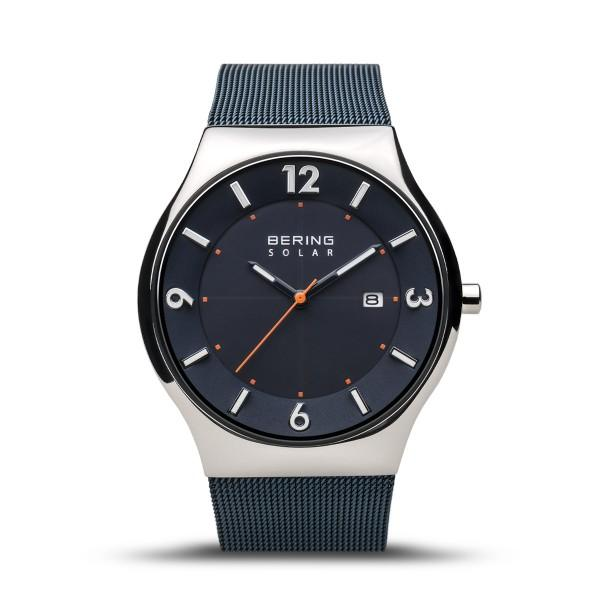 Men's Bering Solar watch with slimline design, Milanese mesh strap in deep blue, blue dial and silver case
