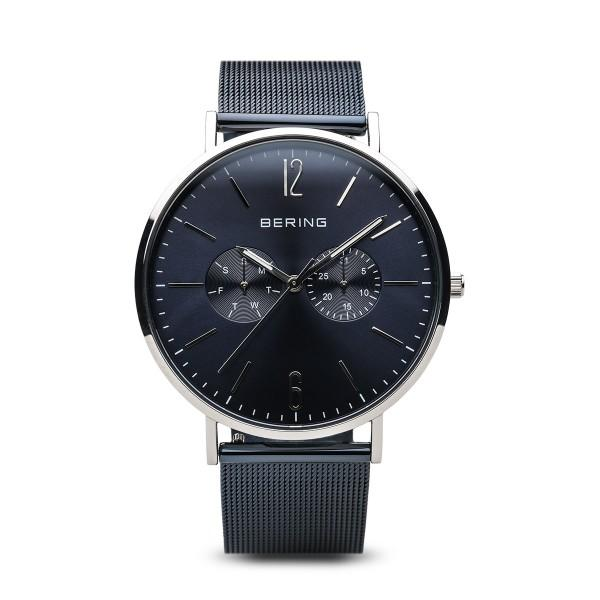men's bering watch in deep blue with Milanese (mesh) strap