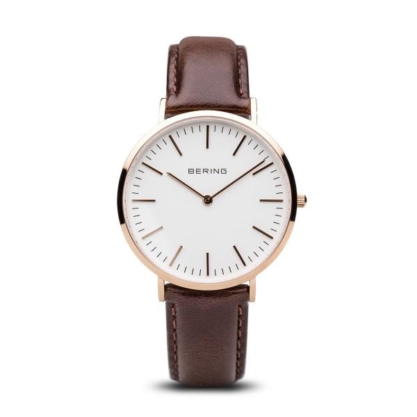 Bering Watch with Rose Gold Case and Brown Strap 13738-564 Watches Bering
