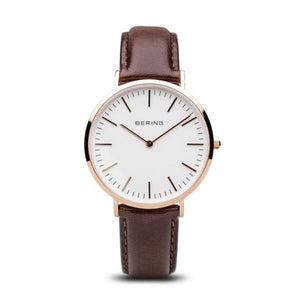 Bering Watch with Rose Gold Case and Brown Strap 13738-564
