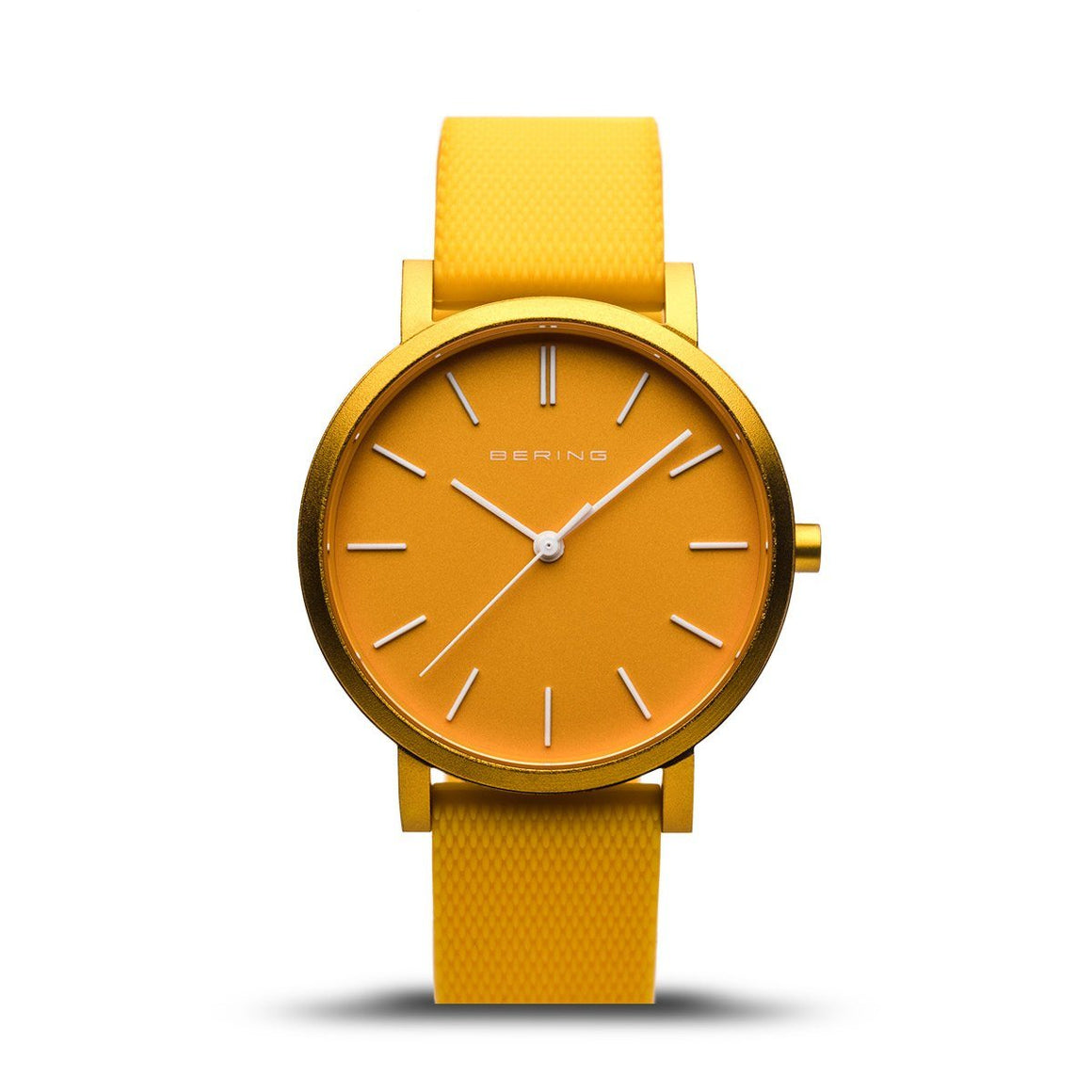 Matt yellow watch with white batons and hands on a yellow silicone mesh strap