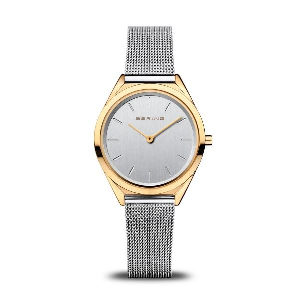 Bering ladies watch with silver-grey mesh strap, white dial and gold case.  Ultra-slim at only 4.8 mm thick.