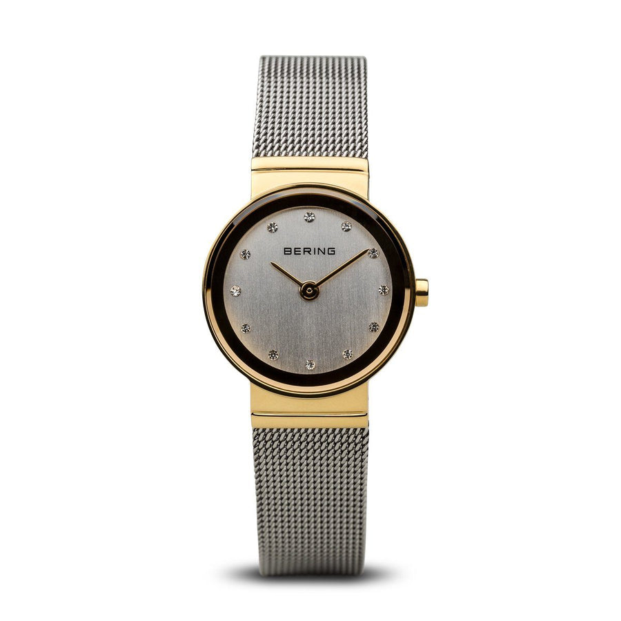 Berings Ladies Two-Tone Watch with mesh strap and silver dial