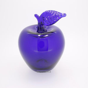 Bristol Blue Glass Apple with Leaf Up