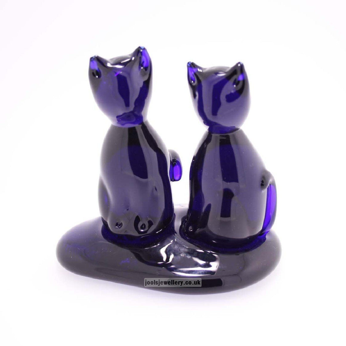 Bristol Blue Glass Pair of Cats