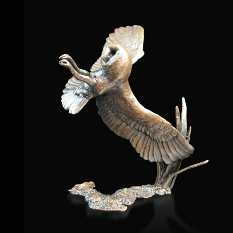 Bronze Sculpture Barn Owl at Night