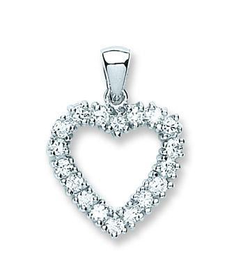 Open heart pendant studded with cz stones