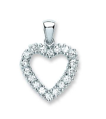 Silver and Cubic Zirconia Heart Pendant Jewellery Hanron